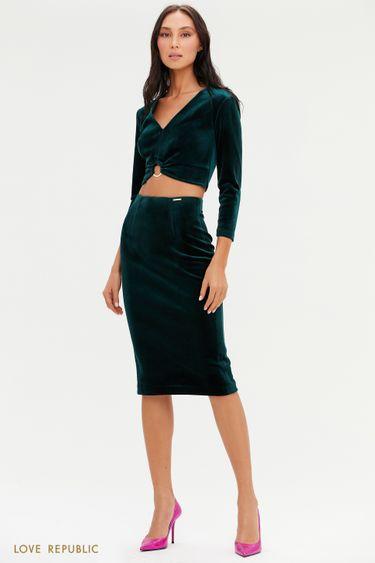 Бархатная юбка-карандаш длины миди 0452140209