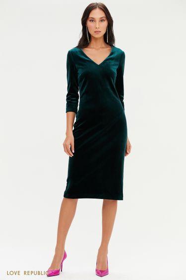 Бархатное платье с V-образным вырезом 0452140511