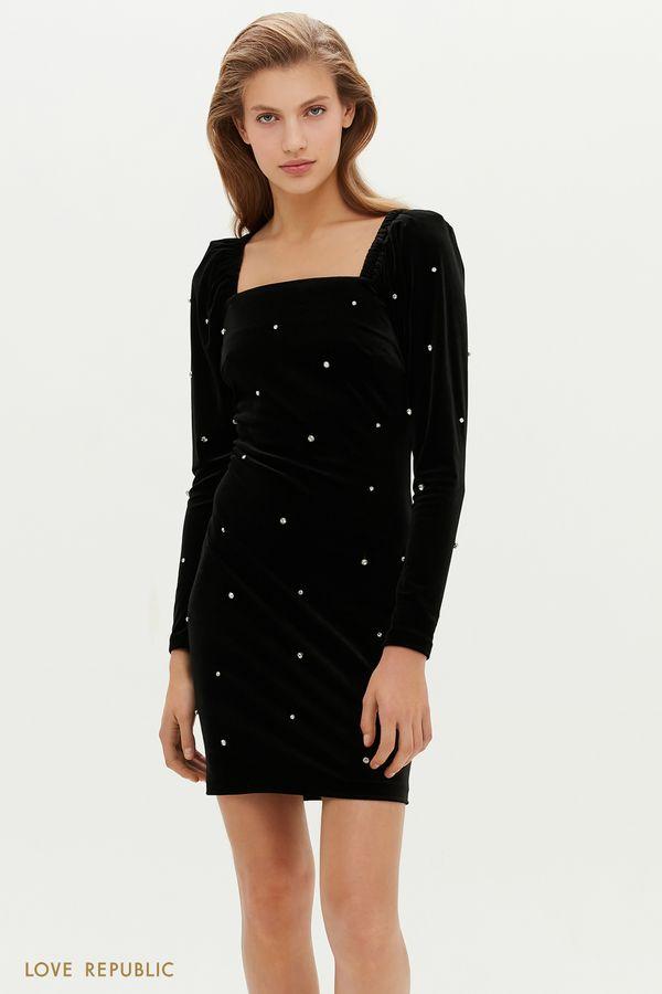 Облегающее бархатное платье с вырезом каре и стразами 0452102504-50