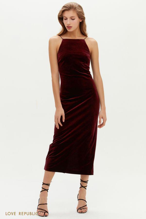 Бархатное лаконичное платье-комбинация 0452102505-16