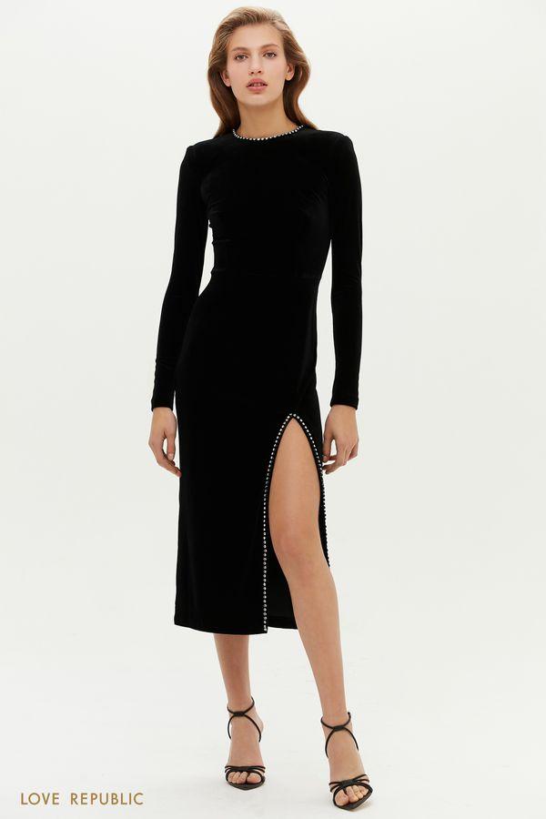 Бархатное платье миди с разрезом и стразами 0452102506-50