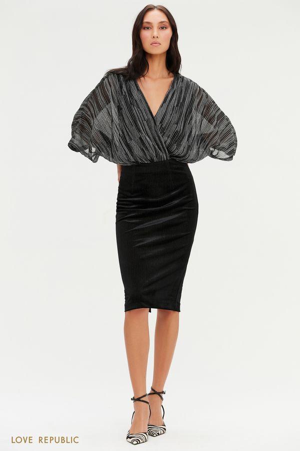 Велюровая черная юбка с нитями люрекса 0452106201-50