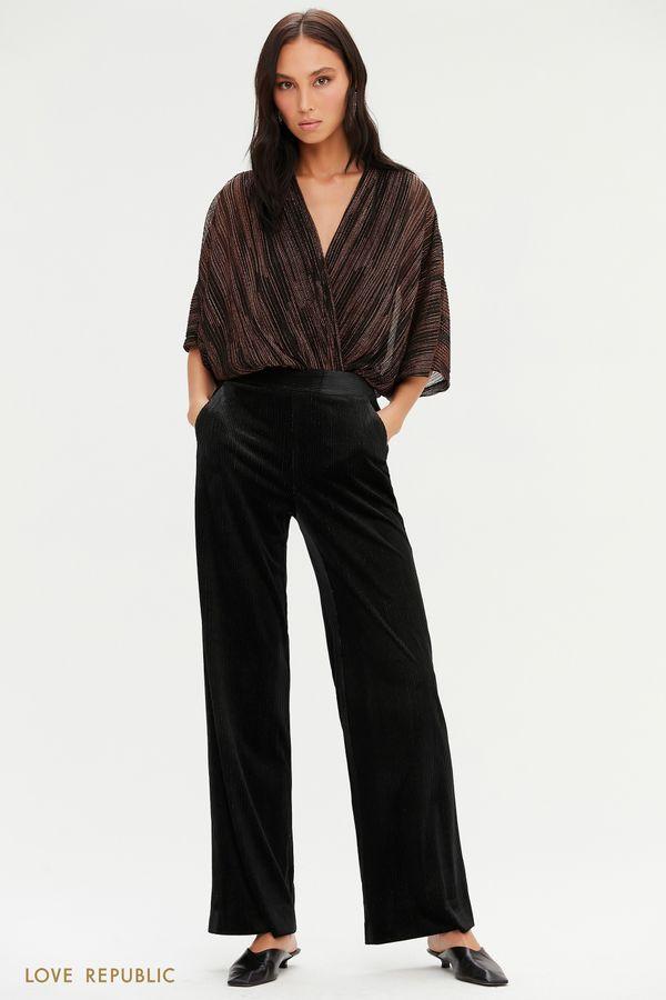 Велюровые широкие брюки черного цвета с люрексом 0452106703-50