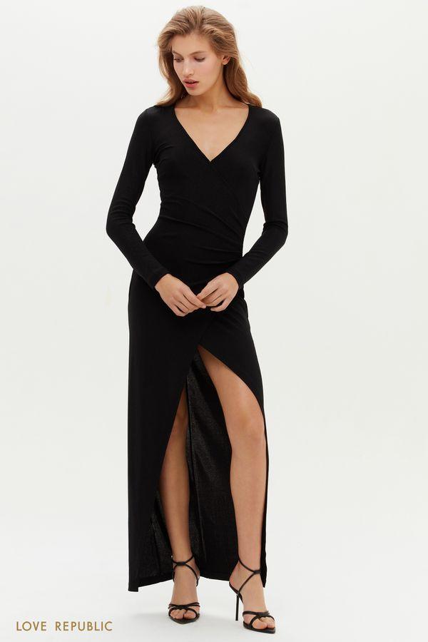 Платье макси с запахом и высоким разрезом 0452107513-31