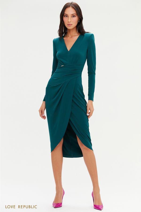Платье миди с запахом и драпировками 0452118518-50