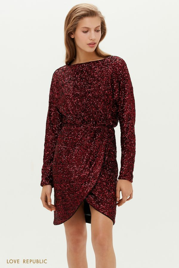 Платье в пайетках с запахом и вырезом на спине 0452122523-99