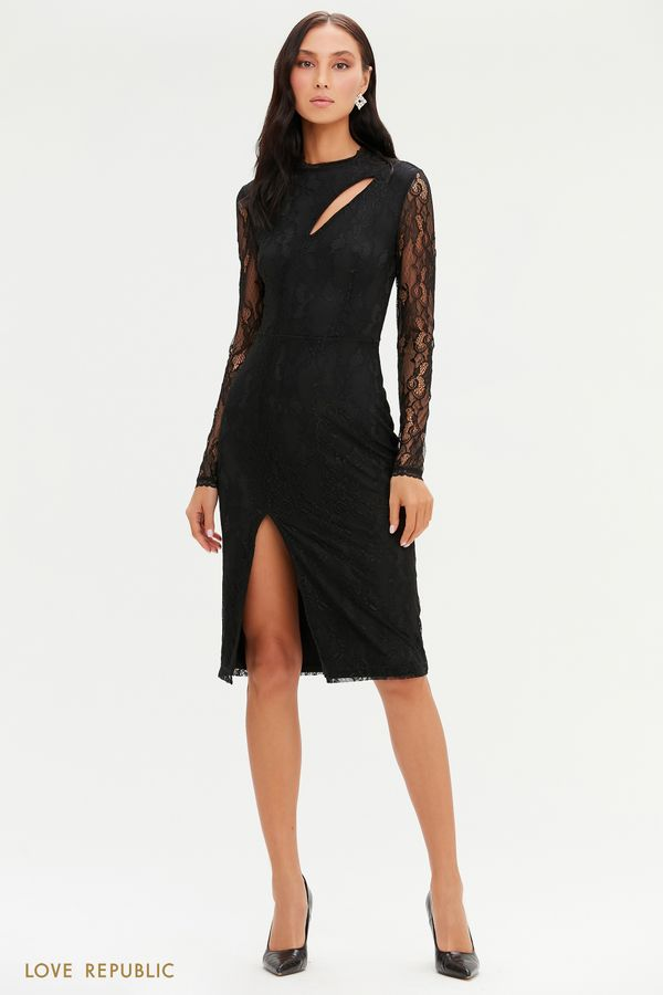 Кружевное миди-платье с фигурным вырезом 0452125525-50