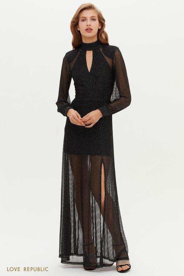 Черное платье макси с полупрозрачным подолом 0452139563-50