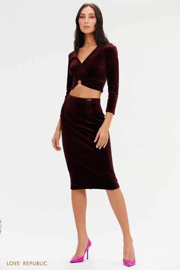 Бархатная юбка-карандаш длины миди 0452140209-16