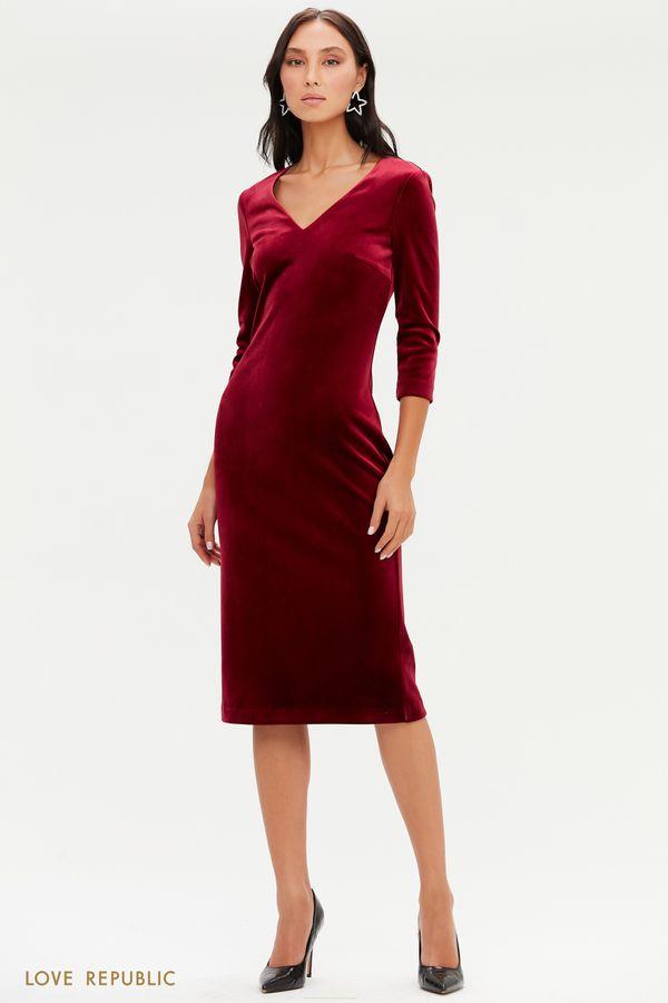 Бархатное платье с V-образным вырезом 0452140511-16