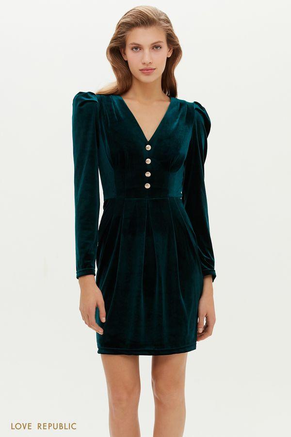 Бархатное короткое платье с V-образным вырезом 0452142510-16