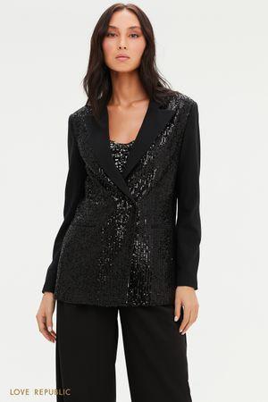 Пиджак с отделкой пайетками и острыми лацканами