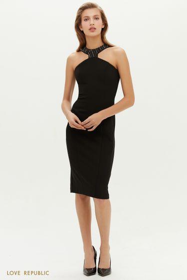 Облегающее платье с американской проймой со стразами 0452203503