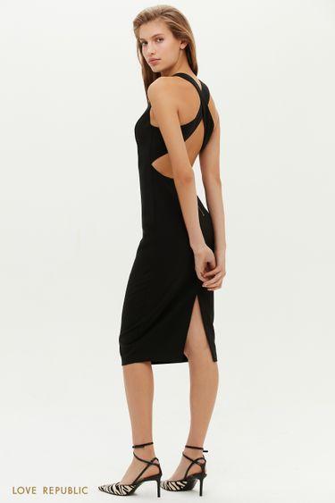 Приталенное миди-платье с открытой спиной 0452205534