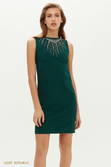 Прямое платье мини со стразами 0452208535