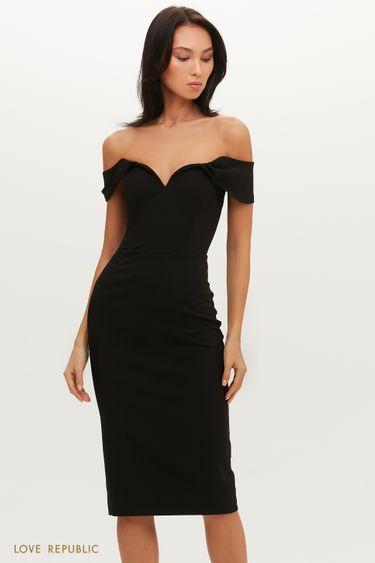 Вечернее платье миди с открытой линией плеч 0452211593