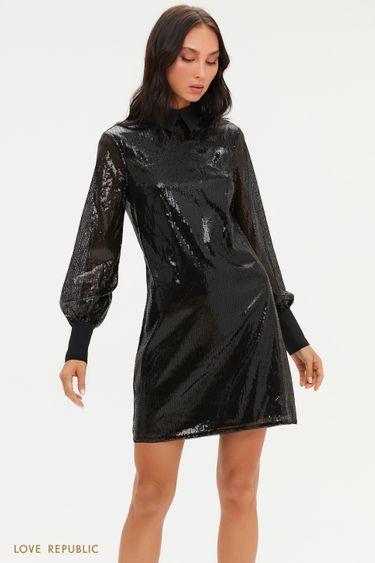 Прямое платье с пайетками и отложным воротничком 0452213566