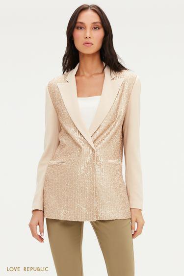 Пиджак с отделкой пайетками и острыми лацканами 0452216602