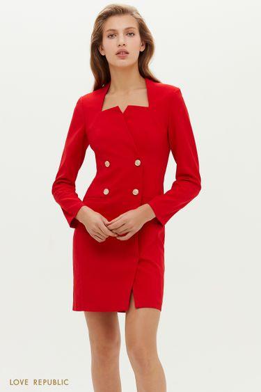 Платье-пиджак с фигурным вырезом каре 0452218576