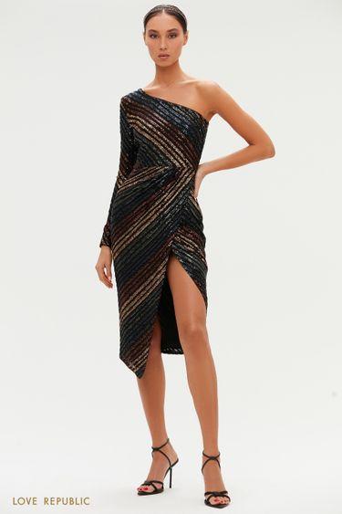 Миди-платье с цветными пайетками на одно плечо 0452221573