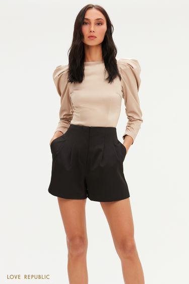 Черные короткие шорты с атласным блеском 0452223706