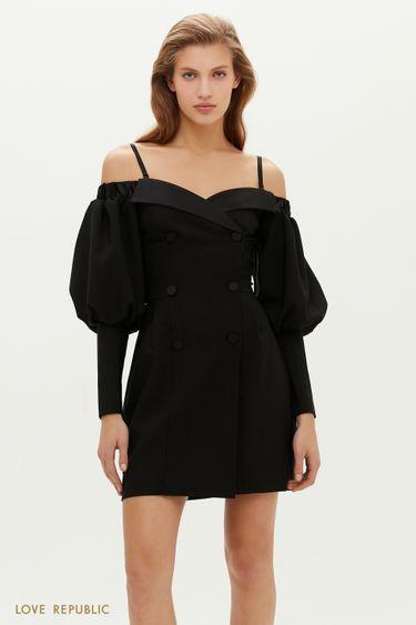 Выразительное платье-жакет с открытыми плечами и рукавами-буфами 0452227581