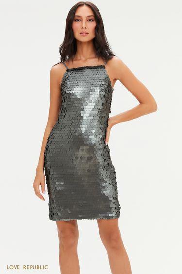 Платье на тонких бретелях с крупными пайетками 0452228582