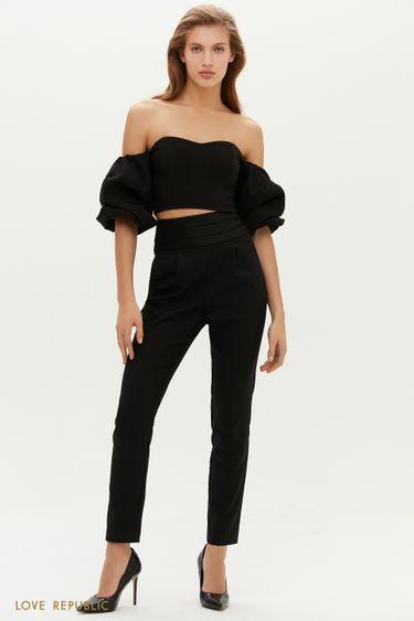 Зауженные черные брюки с акцентной линией пояса 0452237708