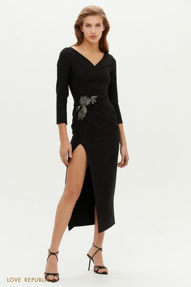 Платье с запахом и аппликацией из бисера 0452239588