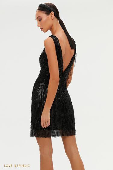 Платье с глубоким вырезом на спине и бахромой из пайеток 0452245591