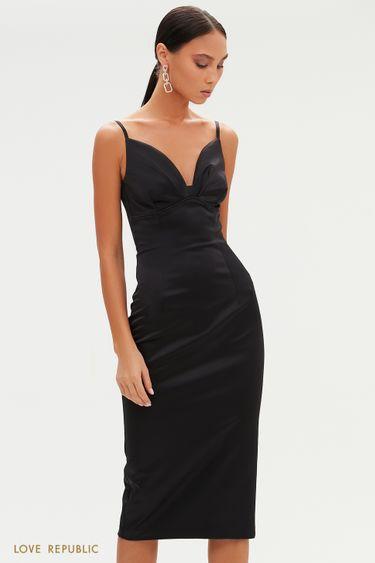 Атласное платье-футляр с акцентным лифом 0452248569