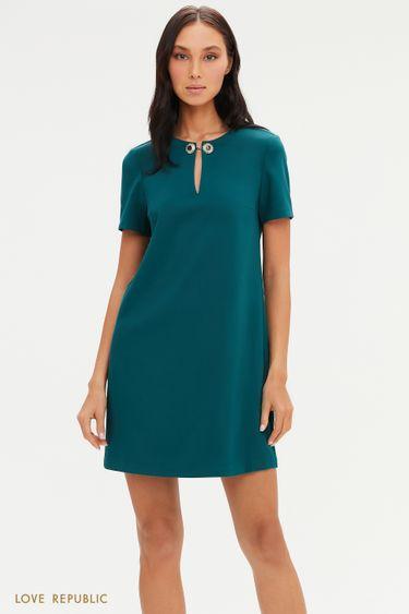 Платье А-силуэта с фигурным вырезом и металлическим декором 0452256596