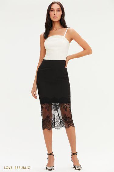Черная юбка-карандаш с кружевным подолом 0452257208