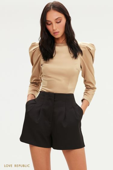 Атласная укороченная блузка с рукавами-фонариками 0452267310
