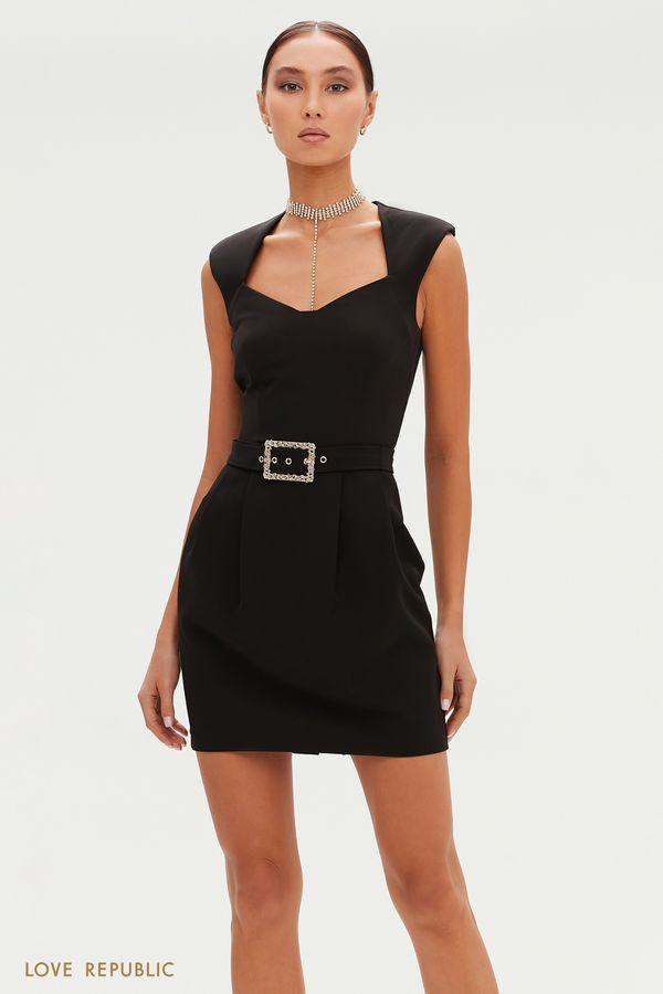 Короткое платье с фигурным вырезом и поясом на талии 0452201564-50