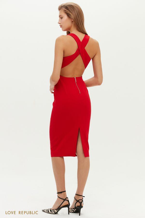 Приталенное миди-платье с открытой спиной 0452205534-50