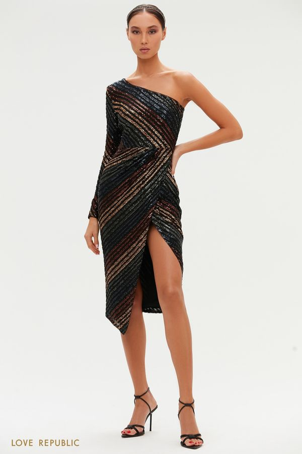 Миди-платье с цветными пайетками на одно плечо 0452221573-99