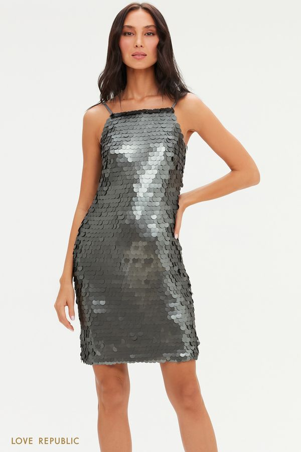 Платье на тонких бретелях с крупными пайетками 0452228582-6