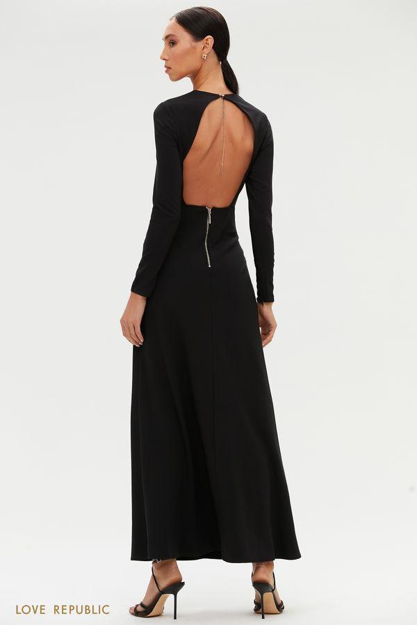 Черное платье в пол с открытой спиной 0452232583-50