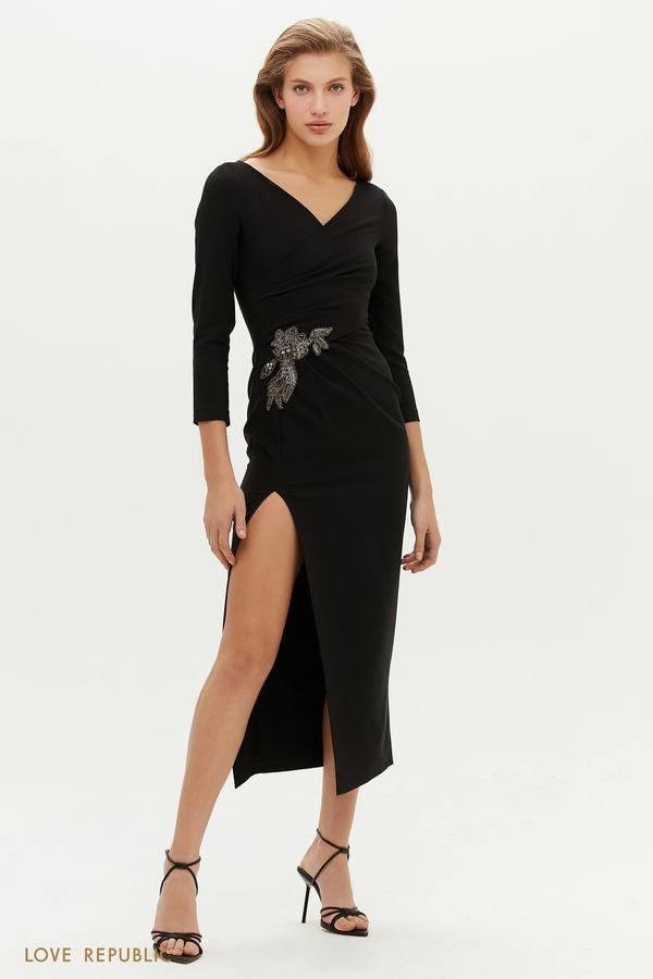 Платье с запахом и аппликацией из бисера 0452239588-50