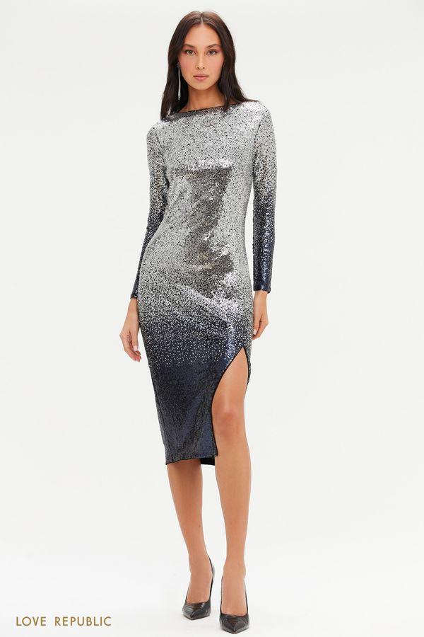 Миди-платье с градиентными пайетками и разрезом 0452244592-29