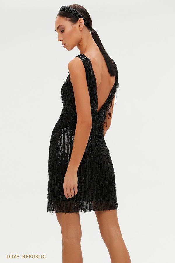 Платье с глубоким вырезом на спине и бахромой из пайеток 0452245591-50