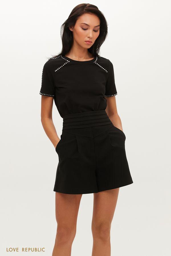 Черные шорты с вшитым поясом со складками и узлом на спине 0452258714-50