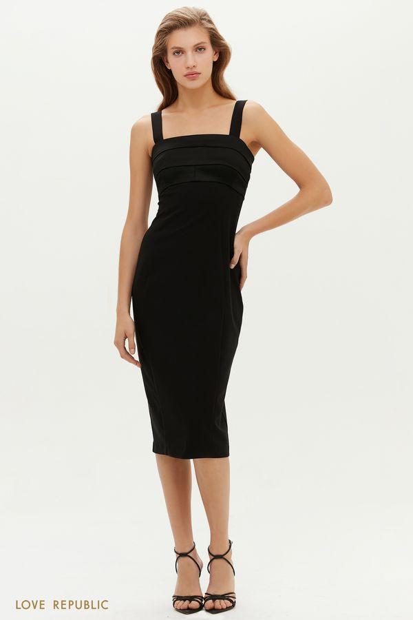 Элегантное черное платье с атласными складками на лифе 0452261586-50