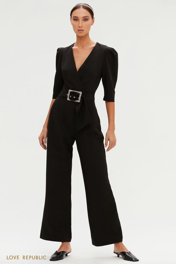 Черный комбинезон с акцентной пряжкой в винтажном стиле 0452263715-50