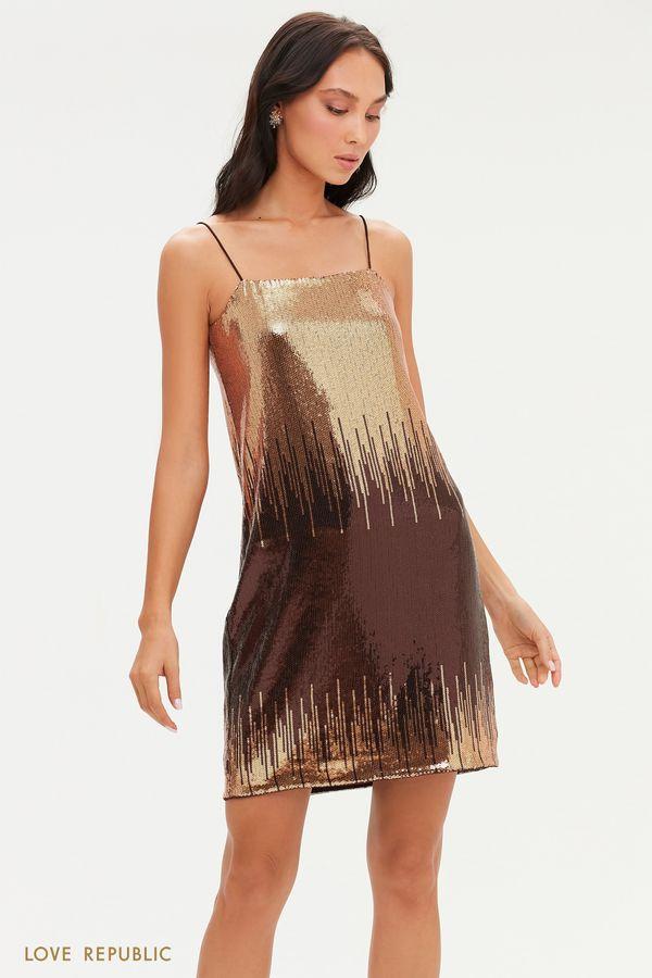 Мини-платье на тонких бретелях с пайетками 0452266574-6
