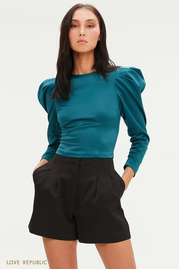 Атласная укороченная блузка с рукавами-фонариками 0452267310-50