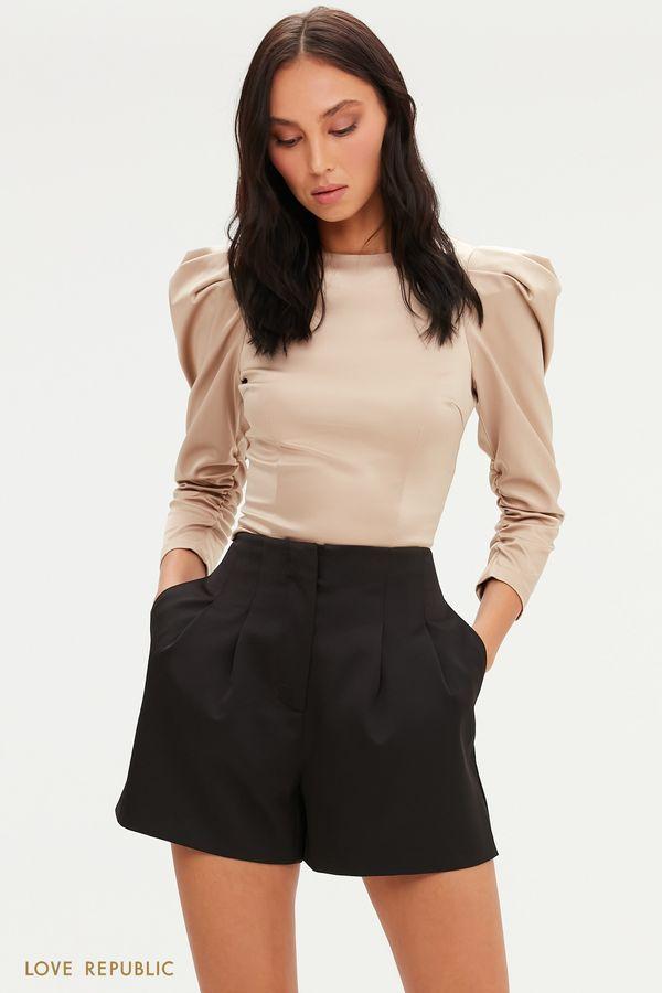 Атласная укороченная блузка с рукавами-фонариками 0452267310-16