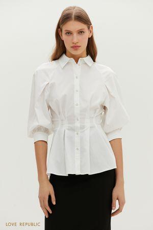 Приталенная удлиненная рубашка с объемными рукавами