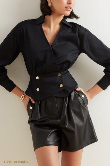 Хлопковая блузка с фигурной кокеткой 1151002305